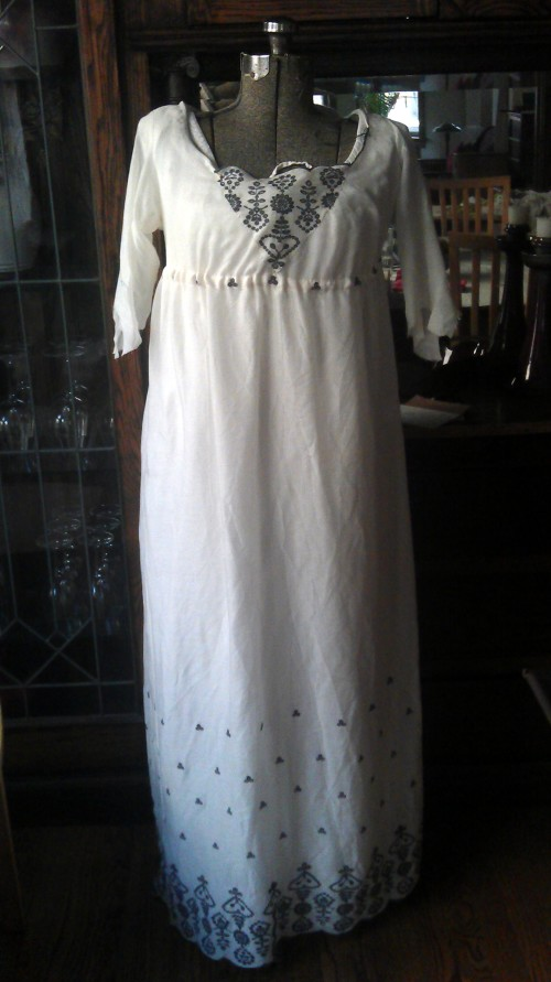 White gauze with steel grey embroidery